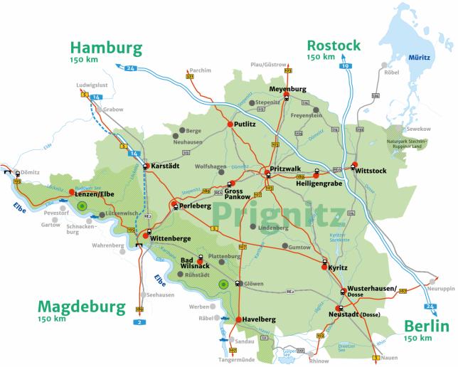 Karte Prignitz Anreise