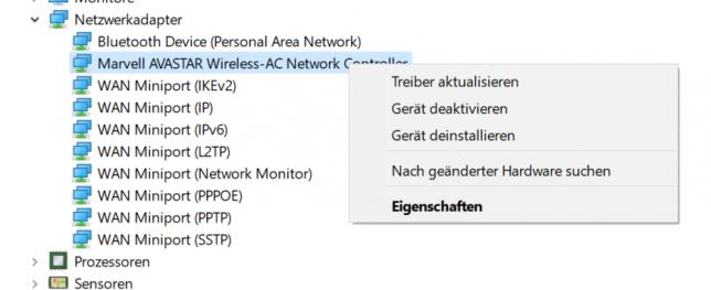 Rechtsklick auf Netzwerkadapter